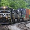 Eastbound intermodal train 234 (Chicago, IL to Norfolk, VA) tackles Blue Ridge Moutain, 5-28-17.