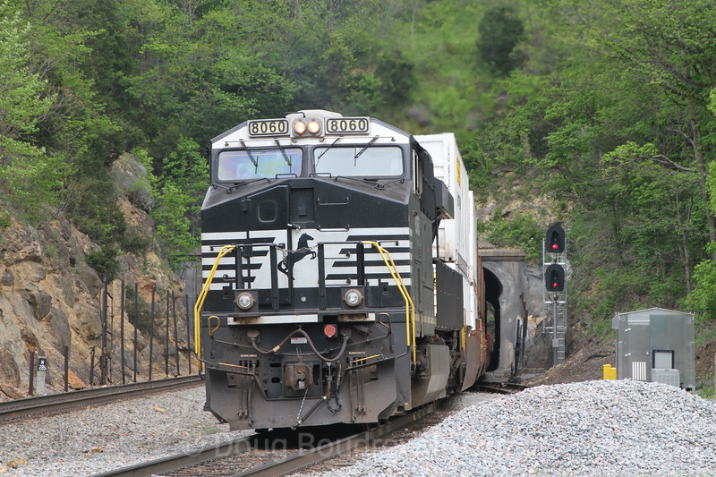 An Eastbound freight heads toward Montgomery Tunnel, 5-9-16.