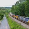 Foreign power leads a loaded Southbound grain train through Ferrum, 5-25-17.