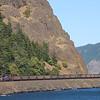 BNSF coal train C-SXMRBG is seen along the Columbia River Gorge, 7-15-21.