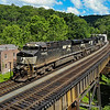NS intermodal train 236 (Cleveland, Ohio to Norfolk, Virginia is seen headed East across Coopers Trestle in Bramwell, 7-2-20.
