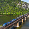 """The Eastbound """"Capital Limited"""" is seen arriving in Harpers Ferry, WV. The daily train runs from Chicago to Washington DC, 7-5-20."""