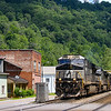 NS intermodal train 233 is seen passing through the rural coal-mining town of Keystone, WV on the NS Pocahontas District, 7-2-20.
