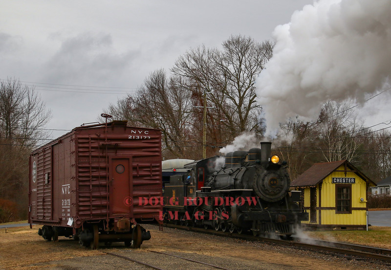 Valley #40 is 1920 American Locomotives Works product built at the Dunkirk, NY plant. Here it shoves the 1:00 Santa Special through Chester.