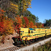"The daily fall foliage ""Notch Train"" rolls west through Intervale with both locomotives on point. The train is headed to Crawford Depot and then returning along the former Maine Central Railroad Mountain Subdivision, 10-14-16."