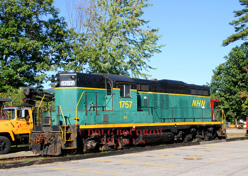 A rare unobstructed view of 1757 called for a roster shot. The former New Hampshire Northcoast GP9 was acquired in a deal by the 470 Railroad Club and is leased to the Conway Scenic Railroad This unit is a reserve and is usually buried deep in the yard, 9-22-16