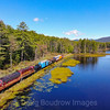 "The Conway Scenic Railroad ""Photo Freight"" is seen passing Pudding Pond on the Redstone Branch. This line was once the famed Maine Central Mountain Subdivision, 9-5-20."