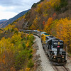 "The Westbound ""Mountaineer"" is seen snaking up the side of Crawford Notch. The train is about to pass The Gateway before arriving at Crawfords Station. They will then continue down to Fabyans before running around the train and starting the long descent back to North Conway, 10-8-20."