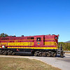 The Conway Scenic 9:30 Valley Train is seen departing Conway village for North Conway. GP7 #573 was built in 1950 for the Maine Central Railroad, 9-21-20.