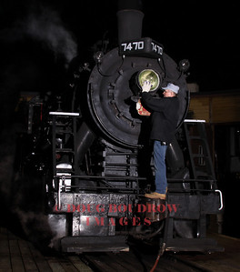 #7470 sits outside the North Conway Roundhouse at Night. Lighting is Lumedyne flash, 9-18-10.