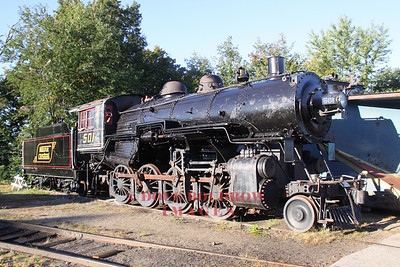 A former Maine Central steam engine sits idle at the North Conway turntable. The Baldwin locomotive works unit is owned by the 470 Railroad Club of Portland. The unit has not run for some time, 9-18-10.