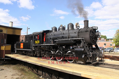 #7470, an ex Grand Trunk and ex Canadian National 1921 0-6-0 steam engine in all her glory on the North Conway turntable after taking on water and coal for her last run of the day, 9-18-10.