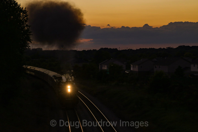 NKP 765 deadheads back to Chicago for overnight storage before the morning run back to Fort Wayne, IN passing New Lenox, IN 9-16-18.