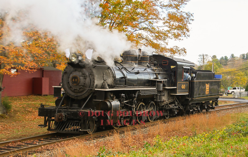 "Valley Railroad #40 runs light through Essex during one of their ""Hand on the Throttle"" trips where visitors can take a try at running the locomotive."
