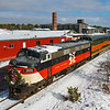 The Polar Express is seen at the railroad's offices in Onset. The train is being prepared for the afternoon and evening trips. This is also where the crew boards. Mass Coastal 2026 is an EMD FL9 built as New York New Haven & Hartford 2007 in 1956, 12-19-20.
