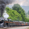 "N&W 611 brings ""The Pocahontas"" up the steep grade through Shawsville on the first of the long weekend runs to Walton, 5-27-17"