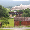 "As the fog burns off over the Blue Ridge Mountains ""The Powhatan Arrow"" passes through the Village of Webster bound for Lynchburg on the morning run, 5-28-17."