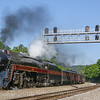 """The times are a changin.' N&W 611 passes the brand new signal bridge at Villamont. Until recently the Blue Ridge District was guarded by original Norfolk & Western """"CP"""" signals. The new signals just do not look right with the classic steam engine, 5-27-17."""