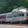 "The beautifully restored ""Silver Solarium"" coach from the famous California Zephyr train had the honor of being the last coach on the NW 611 excursions out of Roanoke on Memorial Day Weekend of 2017. The neon sign was glowing proudly offering a view from the good old days, 5-27-17."