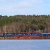 Pan AM power lead by FP9 PAR 2 heads South light over the Wachusett Reservoir bound for Worcester. The engines will meet at Barbers with the Providence & Worcester and take the Ringling Brothers and Barnum & Bailey circus train to Manchester, NH with FP9 PAR 1 leading, 4-17-17.