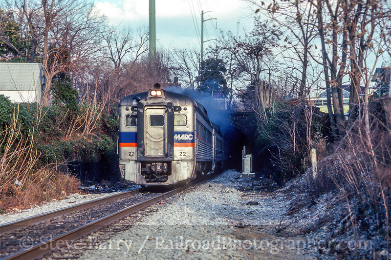 Photo 4472<br /> Maryland Area Rail Commuter<br /> Darby, Pennsylvania<br /> January 1989