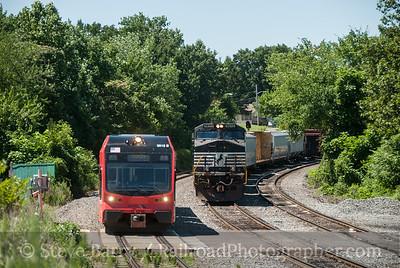 Photo 3199 RiverLine (NJ Transit) and Norfolk Southern; Pennsauken, New Jersey July 5, 2014