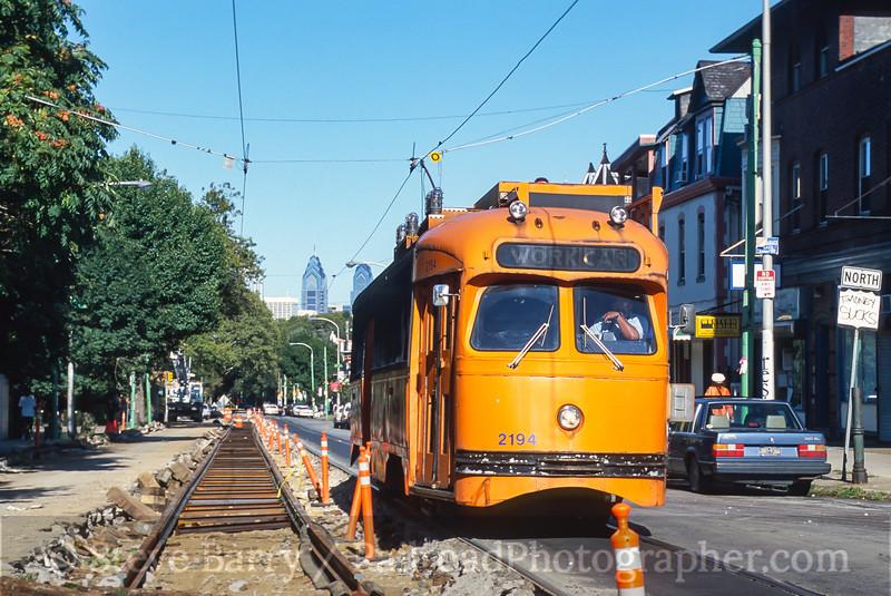Photo 3952<br /> Southeastern Pennsylvania Transportation Authority; 47th & Baltimore, Philadelphia, Pennsylvania<br /> August 20, 2000