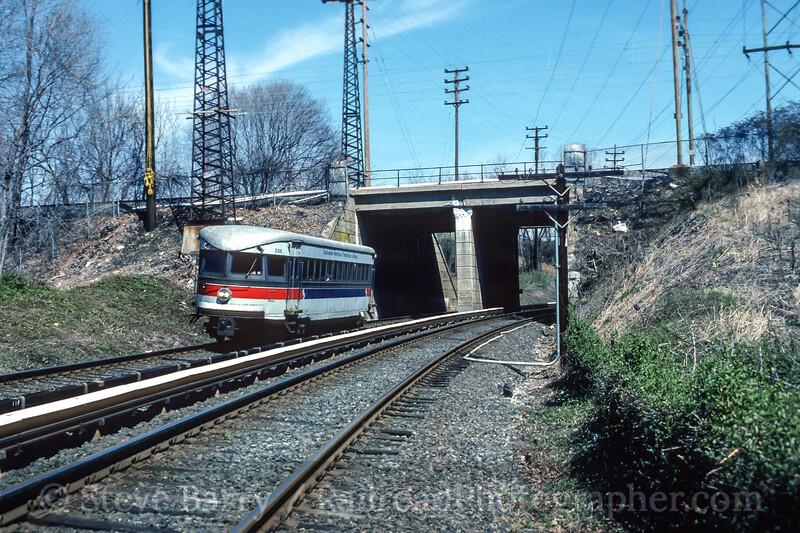 Photo 5199<br /> Norristown High Speed Line (SEPTA)<br /> Radnor, Pennsylvania<br /> April 1989