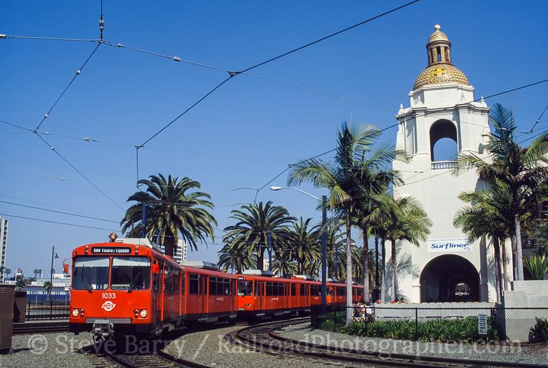 Photo 0463<br /> San Diego Trolley; Santa Fe Station, San Diego, California<br /> March 2002