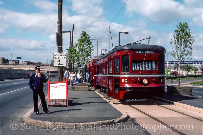Photo 4510<br /> Penns Landing Trolley<br /> Delaware Avenue, Philadelphia, Pennsylvania<br /> April 1988