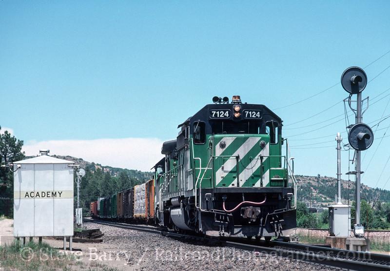 Photo 3138<br /> Burlington Northern; U.S. Air Force Academy, Colorado Springs, Colorado<br /> June 1988