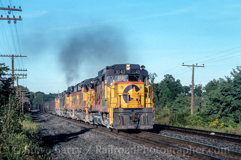 Photo 4590<br /> Chessie System (on Conrail)<br /> Blandon, Pennsylvania<br /> September 1985