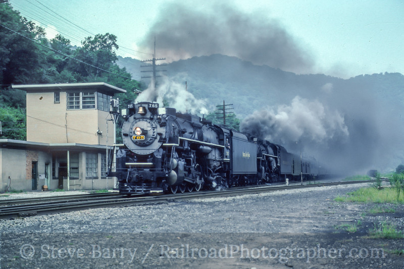 Photo 5227<br /> Nickel Plate Road 765<br /> Handley, West Virginia<br /> August 1991