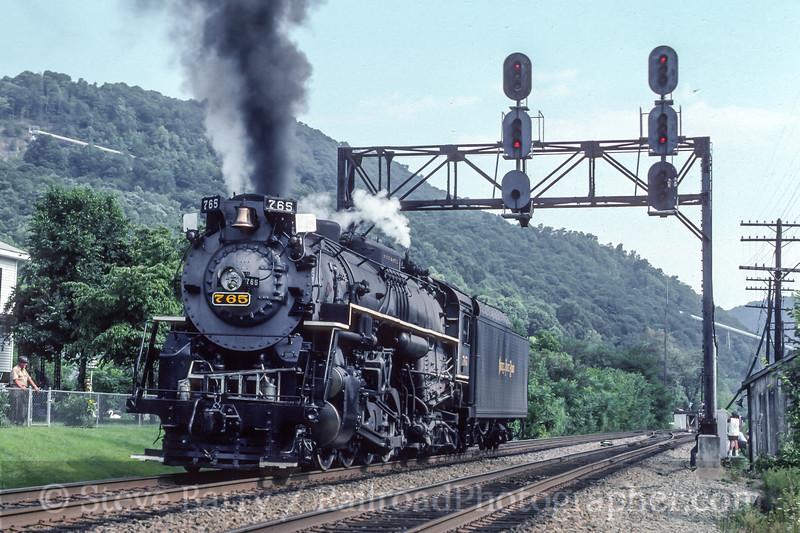 Photo 4738<br /> Nickel Plate Road 765<br /> Meadow Creek, West Virginia<br /> August 1991