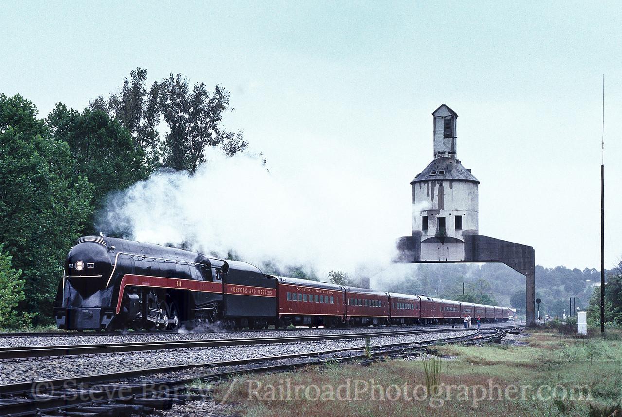 Photo 1993<br /> Norfolk & Western 611; Vicker, Virginia<br /> September 1989