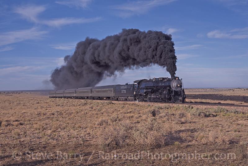 Photo 0608<br /> Atchison, Topeka & Santa Fe 3751<br /> Grand Canyon Railway, Arizona<br /> August 23, 2002