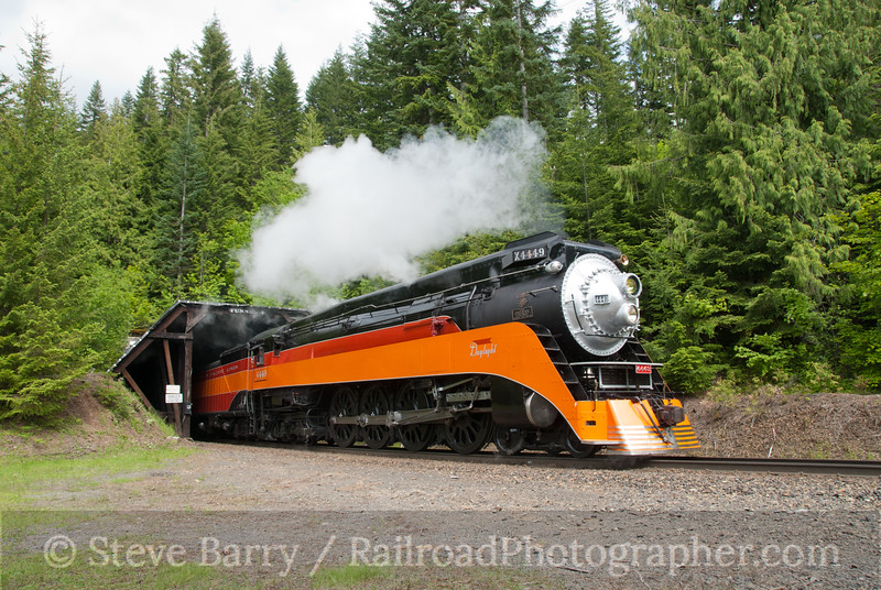 Photo 2132<br /> Southern Pacific 4449; Tunnel 4, Stampede Pass, Washington<br /> June 25, 2011