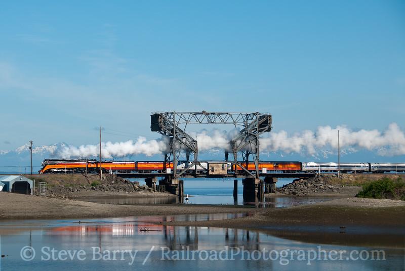 Photo 2133<br /> Southern Pacific 4449; Bridge 14, Steilacoom, Washington<br /> June 26, 2011