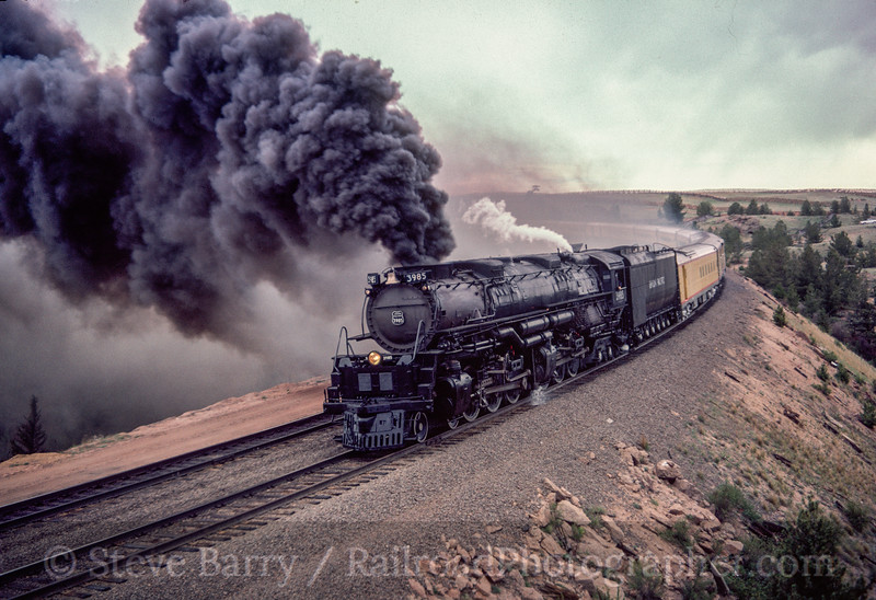 Photo 2920<br /> Union Pacific 3985; Sherman Hill, Wyoming<br /> May 1985