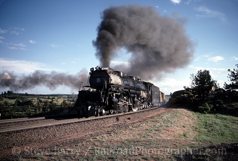 Photo 0522<br /> Union Pacific 3985; Sherman Hill, Wyoming<br /> June 1988