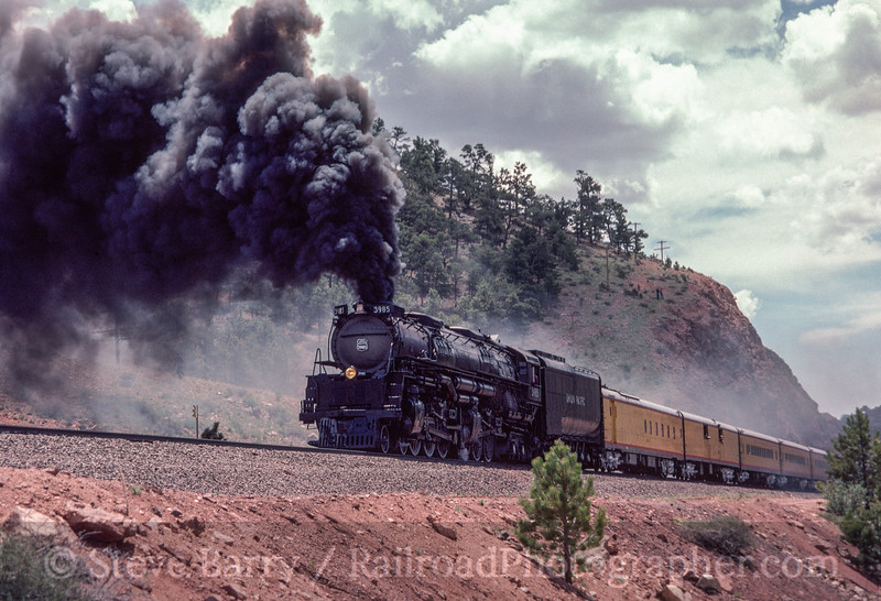 Photo 2919<br /> Union Pacific 3985; Sherman Hill, Wyoming<br /> May 1985
