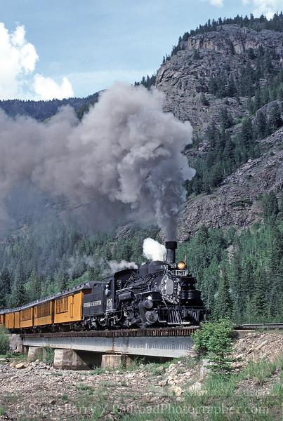 Photo 1300<br /> Durango & Silverton Narrow Gauge; Animas Canyon, Colorado<br /> June 1988