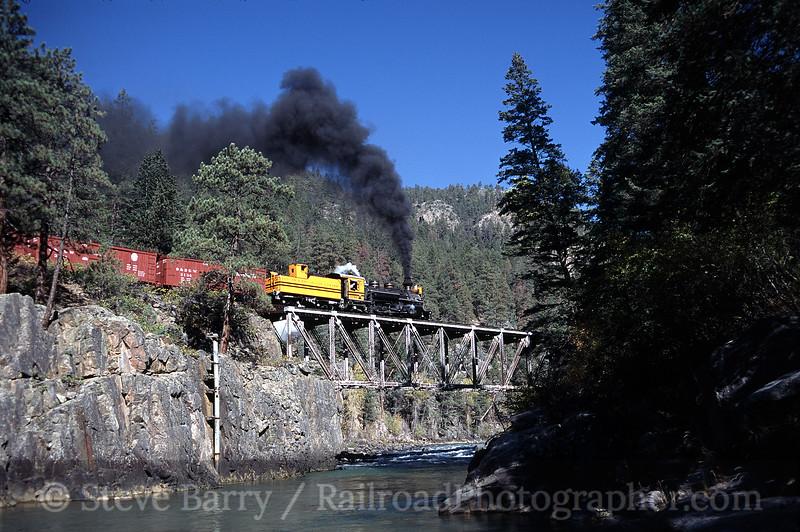 Photo 0251<br /> Durango & Silverton Narrow Gauge; Animas River, Rockwood, Colorado<br /> October 2003