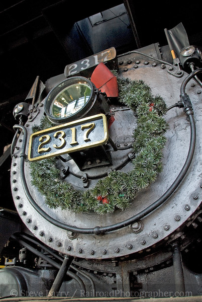 Photo 1726<br /> Canadian Pacific 2317<br /> Steamtown National Historic Site, Scranton, Pennsylvania<br /> December 6, 2009
