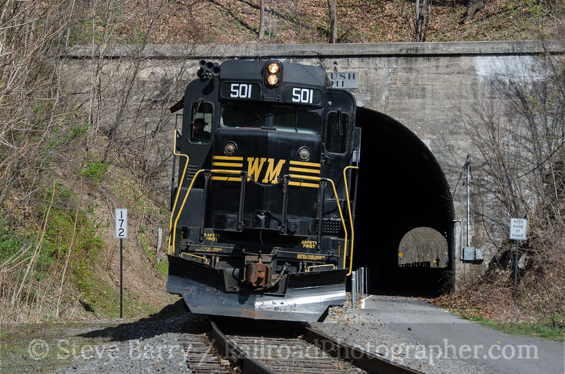 Photo 3722<br /> Western Maryland Scenic; Brush Tunnel, Corriganville, Maryland<br /> April 2, 2016