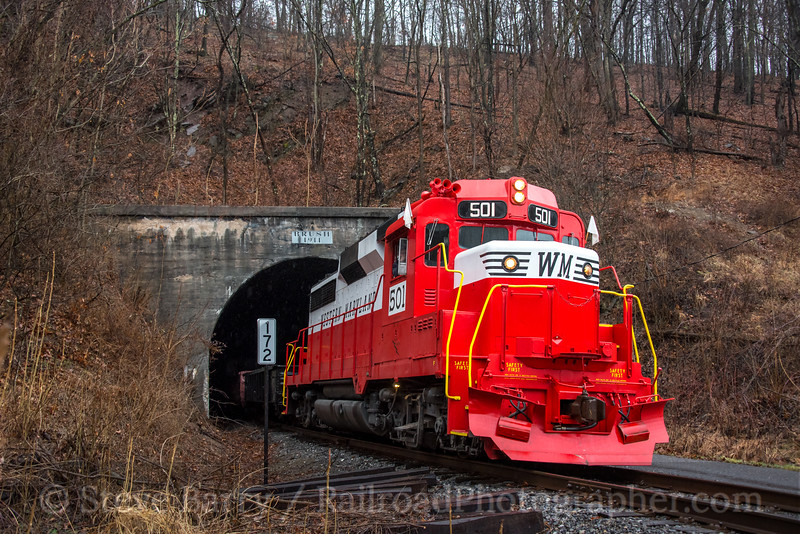 Photo 4581<br /> Western Maryland Scenic<br /> Brush Tunnel, Corriganville, Maryland<br /> February 24, 2017