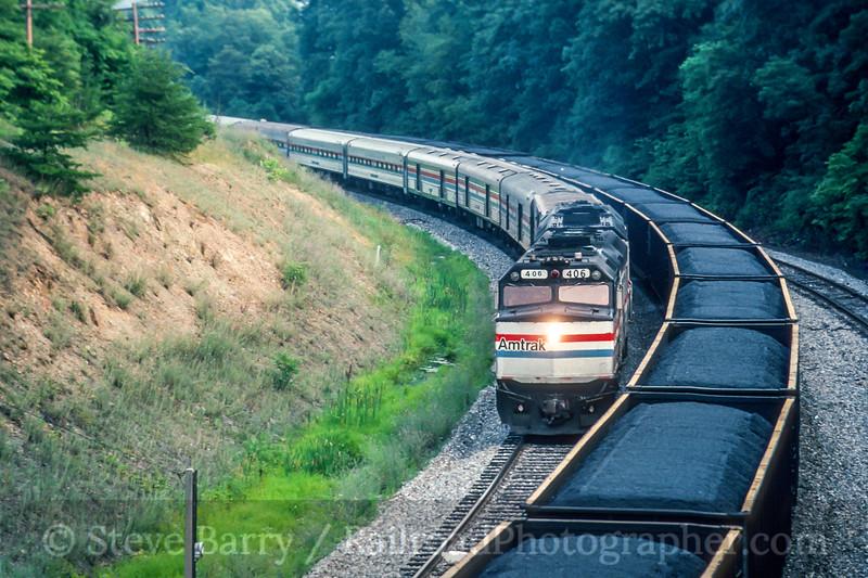 Photo 5449<br /> Amtrak<br /> Mexico Farms, Cumberland, Maryland<br /> July 1991