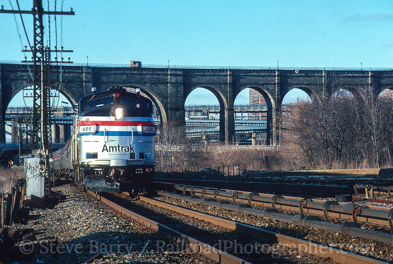 Photo 4492<br /> Amtrak<br /> High Bridge, Bronx, New York<br /> April 1991