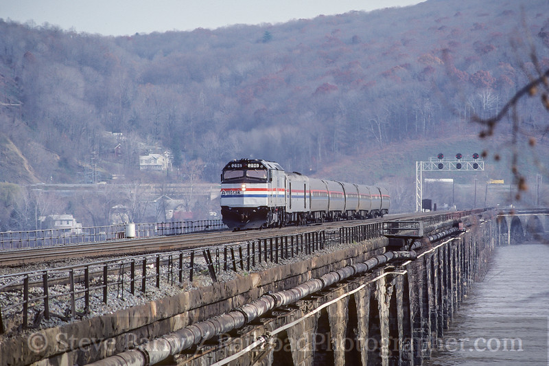Photo 3940<br /> Amtrak; Rockville Bridge, Marysville, Pennsylvania<br /> December 1986