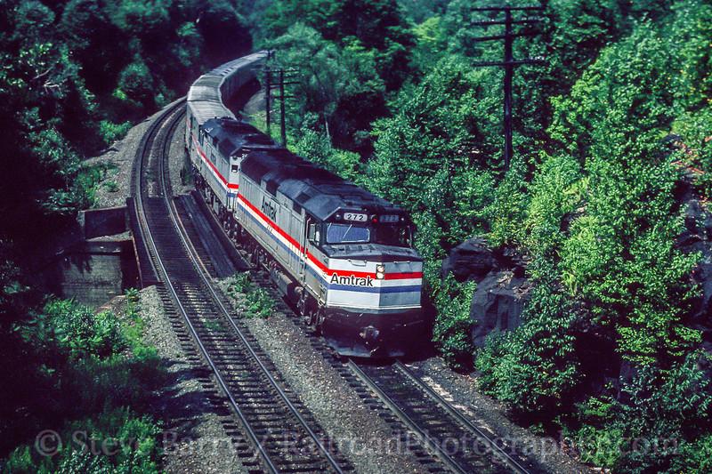 Photo 5465<br /> Amtrak<br /> Twin Ledges, Middlefield, Massachusetts<br /> August 1990